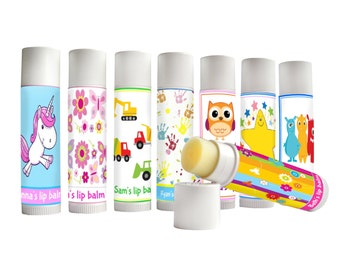 Personalised lip balm, kids party favours, childrens party bag fillers, Childrens gift, gift for kids, Childrens lip balm back to school
