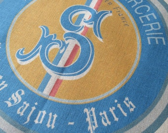 Sajou Vintage Logo French Linen Printed Tea Towel- Natural