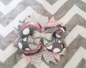 Grey and Pink Stacked Hair Bow