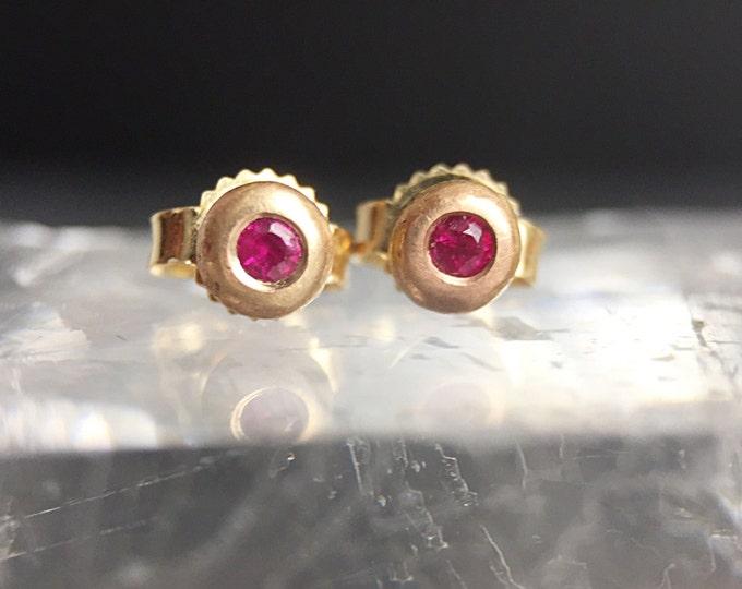 Solid 14 Karat Gold Ruby Pebble Stud Earrings