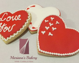 Valentine's Day, Valentine heart decorated sugar cookie favor (1 dozen)