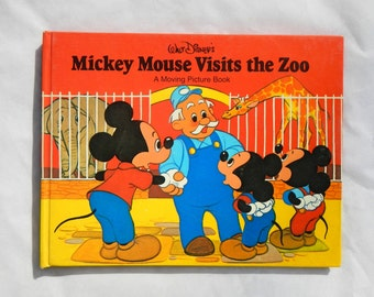 Mickey Mouse Visits The Zoo Walt Disney Vintage Hardcover Book 1979