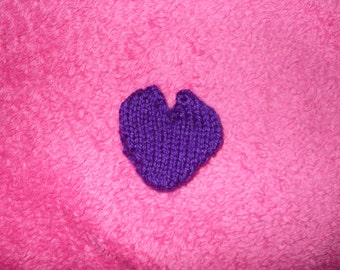 Hand knitted heart shaped wedding favour pouch