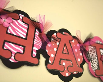 Happy Birthday Banner - Black, White, Red and Hot Pink - Birthday Party Decor
