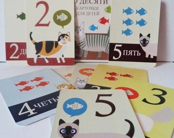 Flash Cat cards Russian Count to ten Counting cards Children's educational
