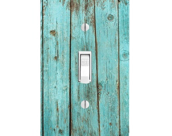 Blue Bleach Wood, Printed, Home Decor Light Switch Cover, Bathroom Decor, Wall Outlet, Rocker Plug, Single Light Switch, Double Light Switch
