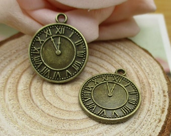 10Pcs 17x20mm Clock Charms, Antique Bronze Tone,2 Sided-p1402