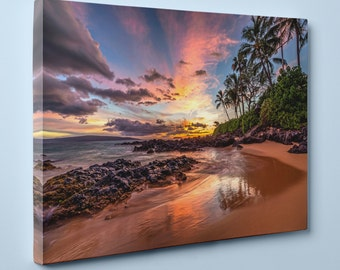 "Hawaiian Sunset at Secret Cove, Maui (24"" x 36"") - Canvas Wrap Print"