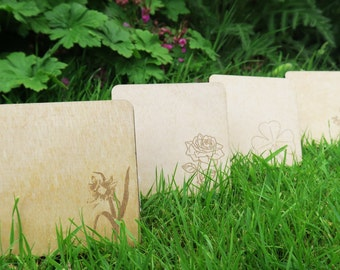 Set of 4 Wooden Coasters - National Flowers