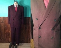 Vintage 1940s Men's Suit | Dark Chocolate Brown Double Breasted Suit | Size 40