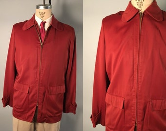Vintage 1930s Men's Jacket | Roan Red Gabardine Jacket with Side Buckles | Medium / Large