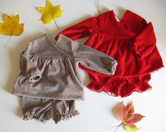 Velluto. Baby set Blouse+ Culotte in soft 100% organic cotton Velvet