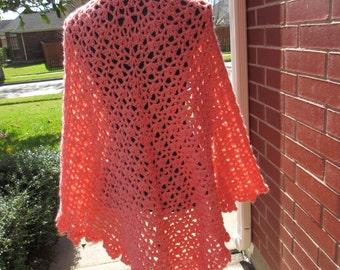 Crochet Shawl: Green With Envy Crochet Shawl in Peach