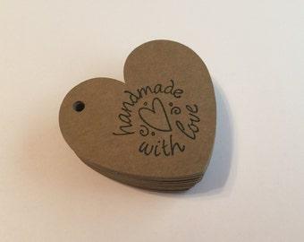 "50 Kraft Heart ""Handmade With Love"" Tags, Gift tags, Hearts, Tags, Kraft"