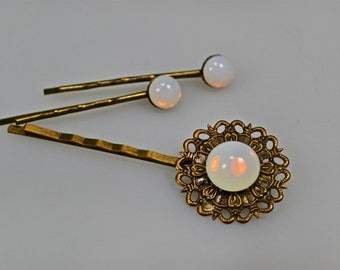 Bronze Opal Hair Pin Set Bobby Pins Opalite