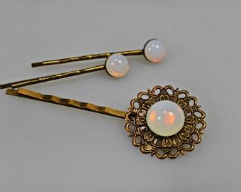 Bronze Opal Hair Pin Set Bobby Pins Opalite