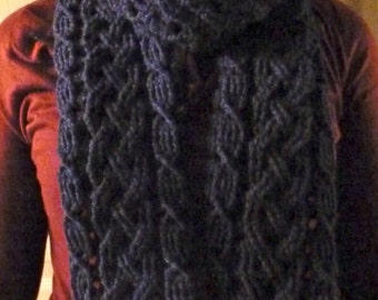 Inverness Braided Cable Scarf Cowl Crochet Pattern for Women or Men, Crochet Accessories, PDF Download, Celtic Scarf, Aran Scarf
