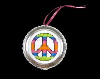 Cross Stitch Peace Sign Ornament