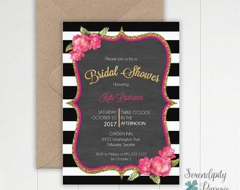 bridal shower invitation stripes and pink flowers invitation printable