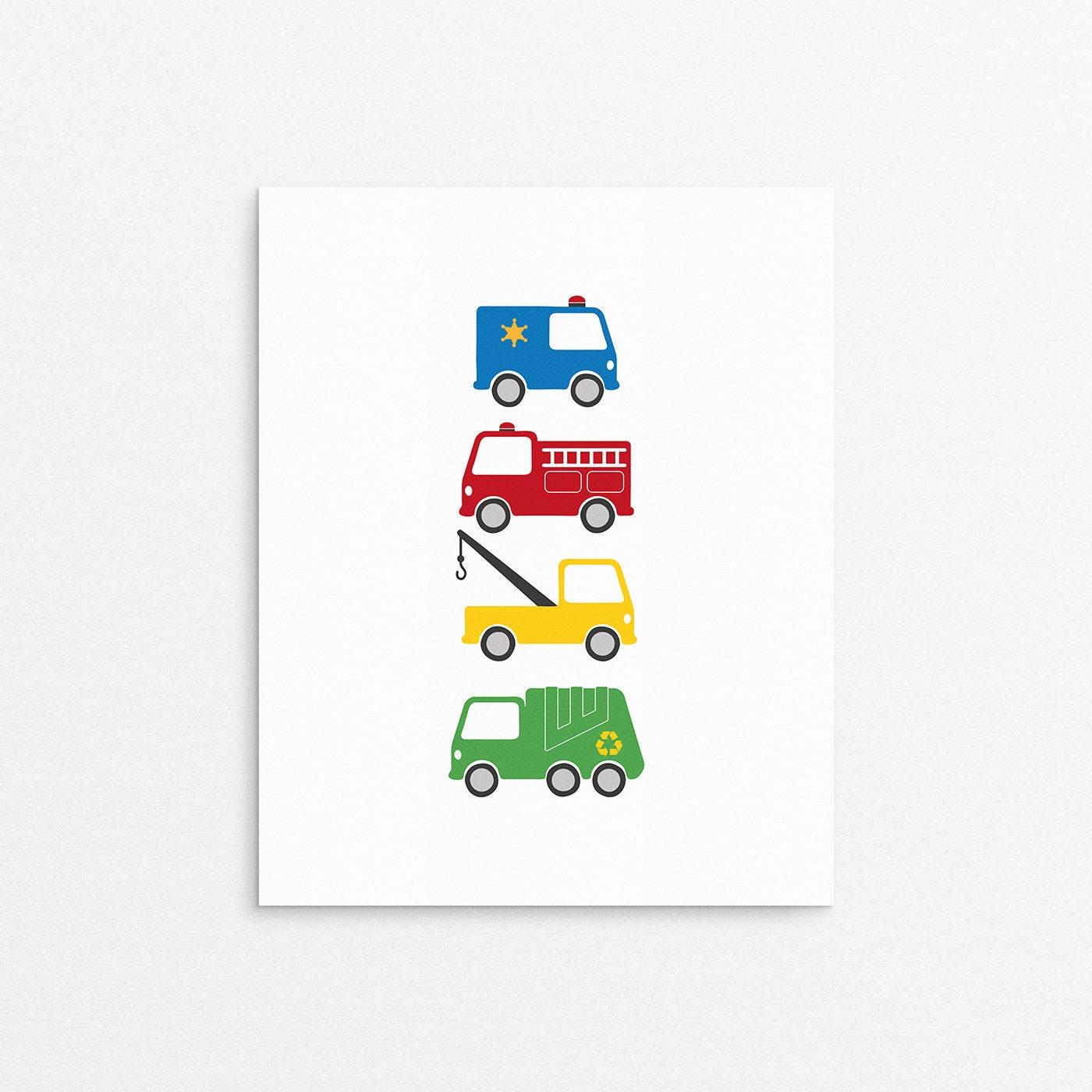 childrens decor trucks kids posters kids room art print
