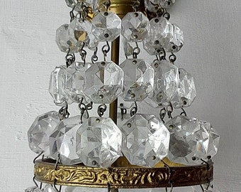 Vintage brass sconce pair crystal pendant applique stile impero 1 luce 1950s