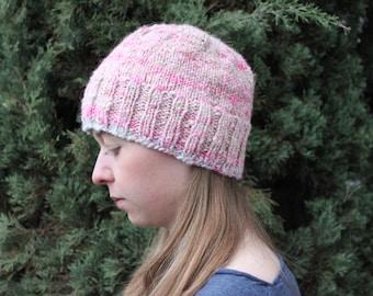 Pink Angora Hand-knit Sparkle Hat