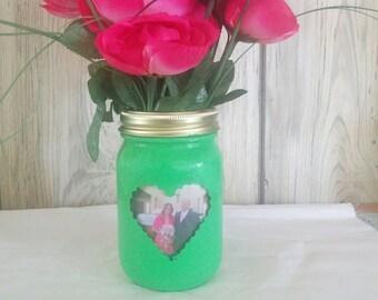 Mason Jar Photo Vase or Pencil Holder (Decorated Holiday Centerpiece)