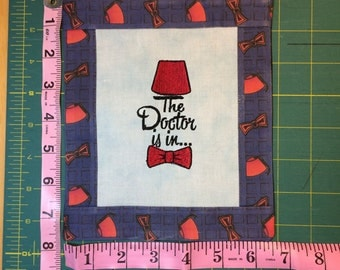 """Doctor Who """"The Doctor is in..."""" Fez & Bow Tie Cube Banner"""