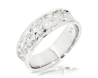 Rustik Wedding Band, 14K White Gold Ring Size 7.75 White Gold Band Ring, Wedding Jewelry Gift Anniversary Gift