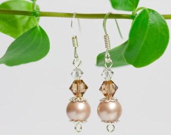 Swarovski pearl bridal earrings, sterling silver 925 elegant drop dangle earrings, handmade jewelry