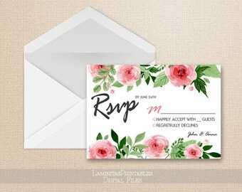 RSVP cards, wedding rsvp cards, Floral rsvp, boho rsvp cards, rustic wedding, boho wedding, RSVP printable, blush rsvp W0116