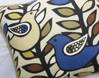 Birds of a Feather, Designer Kas Fabric, Pillow Cover with Birds, Navy Blue Pillow Cover, Pillow Cover with Buttons, Birds Pillow