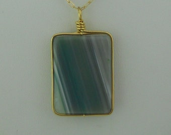 Green Agate Wire Wrapped Pendant Necklace
