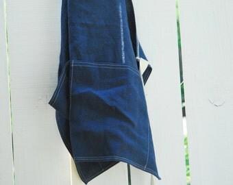 Indigo Blue Linen Utility Apron - Small Size Unisex Apron