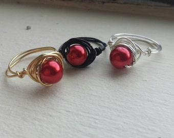 Fire Pearl Wire Wrapped Ring