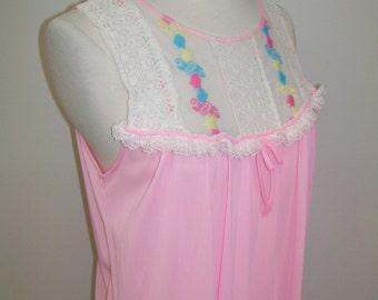 pink nylon long nightgown 1970's M