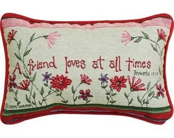 """Inspirational Pillow by Cindy Shamp - """"A Friend Loves at All Times"""" - Proverbs 12:27 - Reds & Greens"""