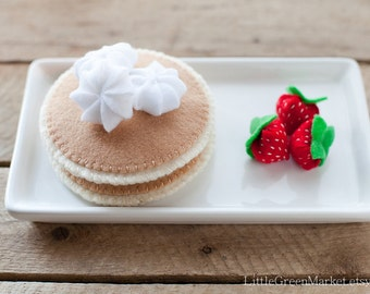 Strawberry Pancake set, deluxe felt pancakes, breakfast set, felt food, play food