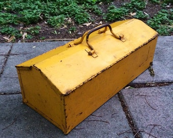 Old Time Yellow Metal Toolbox