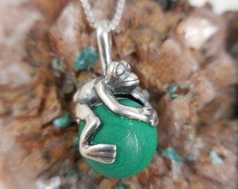 Malachite Frog Sterling Pendant Necklace