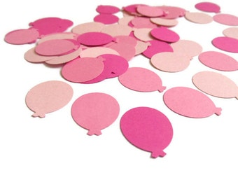 Pink Balloon Confetti, Baby Girl Shower Decoration, Birthday Party Table Scatter, Pink Balloon Die Cuts, Paper Balloon Cut Outs