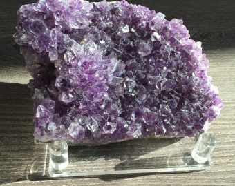 YogiCrystals Rough Energized Amethyst Crystal with Stand