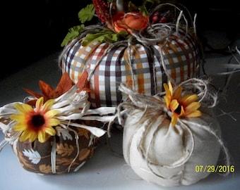 Rustic Handmade Stuffed Fabric Pumpkins Fall Thanksgiving Home Decor 3 pc. set