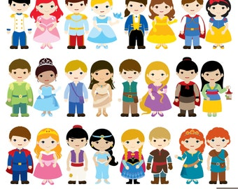 24 Prince And Princess Digital Clipart