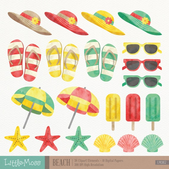 Beach Digital Clipart and Papers Watercolor Beach by ...