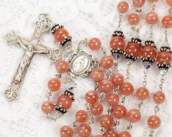 Pink Rhodochrosite Women's Catholic Rosary Beads Handmade - Sterling Silver, Swarovski Crystal, Miraculous Center - Custom Heirloom Rosaries