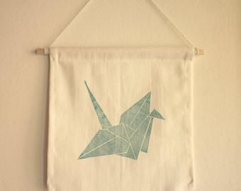 Flag crane origami linocut pattern