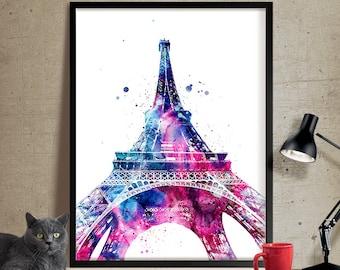Eiffel Tower Paris Watercolor Print, French country, Art, France Art Print, Paris Watercolor, Paris Art Poster, Eiffel Tower Decor (101)