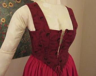 Black and Red Renfaire Renaissance Medieval Bodice and Skirt, Lace-Up FREE SHIPPING