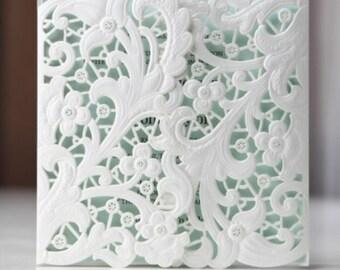 Lasercut 'Gatefold' Floral Invitation